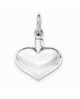 Puffy Heart Sterling Silver Cremation Jewelry Pendant