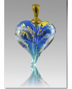 Pulsar Gold Precious Metal Heart Cremains Encased in Glass Cremation Jewelry Pendant