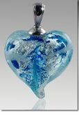 Pulsar Silver Precious Metal Heart Cremains Encased in Glass Cremation Jewelry Pendant