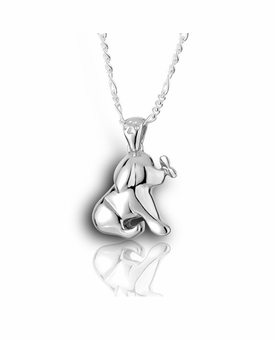 Puppy and Butterfly Sterling Silver Pet Cremation Jewelry Pendant Necklace