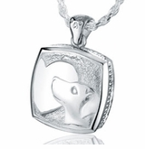 Puppy and Heart Sterling Silver Pet Cremation Jewelry Pendant Necklace
