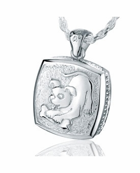 Puppy with Bone Sterling Silver Pet Cremation Jewelry Pendant Necklace