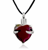 Purple Cradled Heart Stainless Steel Cremation Jewelry Pendant Necklace