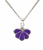 Purple Fan Sterling Silver Cremation Jewelry Necklace