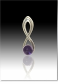 Purple Harmony Cremains Encased in Glass Sterling Silver Cremation Jewelry Pendant