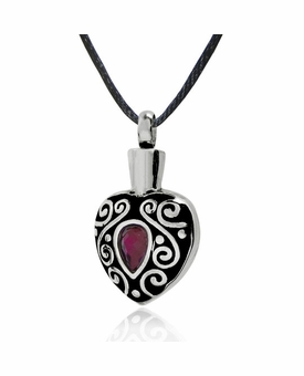 Purple Jewel Encrusted Stainless Steel Cremation Jewelry Pendant Necklace