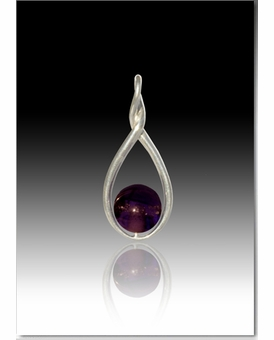 Purple Melody Twist Cremains Encased in Glass Sterling Silver Cremation Jewelry Pendant