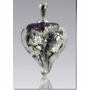 Purple Silver Precious Metal Heart Cremains Encased in Glass Cremation Jewelry Pendant