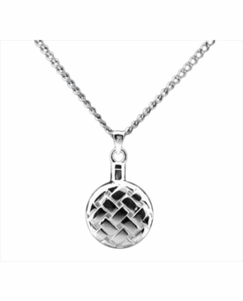 Quilted Flask Sterling Silver Cremation Jewelry Necklace