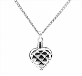 Quilted Heart Sterling Silver Cremation Jewelry Necklace
