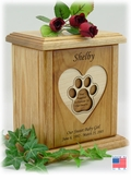 Recessed Heart With Pawprint Engraved Wood Pet Cremation Urn