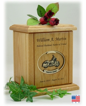 Recessed Oval Forever Riding Motorcycle Engraved Wood Cremation Urn