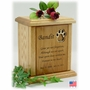 Recessed Pawprint And Poem Engraved Wood Pet Cremation Urn