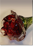 Red Eternal Bloom Cremains Encased in Glass Cremation Long Stem Rose
