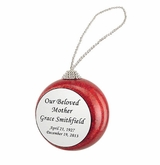 Red Glitter Memorial Holiday Tree Ornament