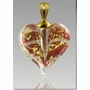 Red Gold Precious Metal Heart Cremains Encased in Glass Cremation Jewelry Pendant