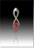 Red Harmony Cremains Encased in Glass Sterling Silver Cremation Jewelry Pendant