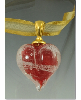 Red Heart Cremains Encased in Glass Cremation Jewelry Pendant