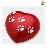 Red Heart Paw Print Large Pet Cremation Urn