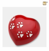 Red Heart Paw Print Medium Pet Cremation Urn