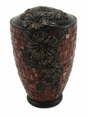 Red Hibiscus Glass Mosaic Cremation Urn