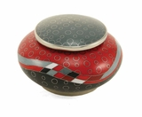 Red Opulence Cloisonne Copper and Enamel Keepsake Cremation Urn