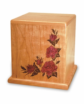 Red Rose Mosaic Inlay Cherry Cremation Urn - Engravable