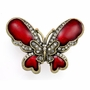 Red Round Jeweled Butterfly Keepsake Cremation Urn