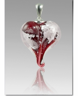 Red Silver Precious Metal Heart Cremains Encased in Glass Cremation Jewelry Pendant