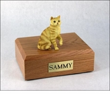 Red Tabby Cat Figurine Pet Cremation Urn - 647