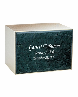 Remembrance Bronze & Marble Engravable Cremation Urn - Green