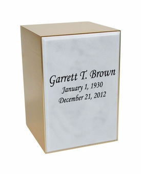 Remembrance Bronze & Marble Engravable Cremation Urn - White