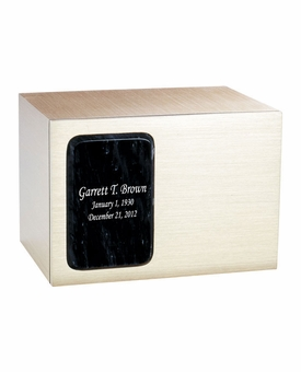 Remembrance Bronze & Marble Panel Engravable Cremation Urn - Black