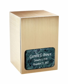 Remembrance Bronze & Marble Panel Engravable Cremation Urn - Green