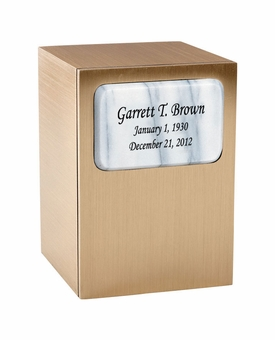 Remembrance Bronze & Marble Panel Engravable Cremation Urn - White