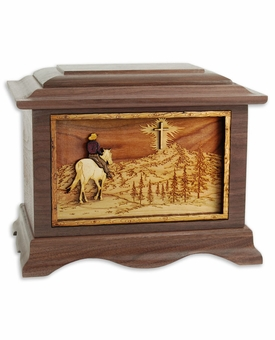 Riding Home With Cross with 3D Inlay Walnut Wood Cremation Urn