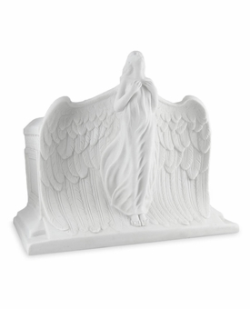 Rising Angel Cold Cast White Alabaster Cremation Urn
