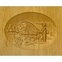 River Fisherman Relief Carved Engraved Wood Cremation Urn