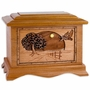 Road Home 3D Inlay Mahogany Wood Cremation Urn
