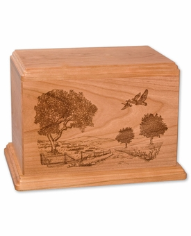 Road Home Cherry Wood Newport Laser Carved Cremation Urn
