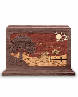 Road Home Dimensional Wood Cremation Urn - Engravable