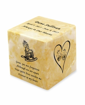 Rocking Horse Gold Small Cube Infant Cremation Urn - Engravable