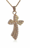 Rocky Cross Gold Vermeil Cremation Jewelry Pendant Necklace
