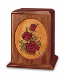 Rose Bouquet Dimensional Wood Cremation Urn - Engravable