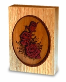 Rose Bouquet Dimensional Wood Keepsake Cremation Urn - Engravable