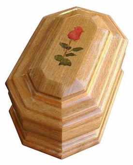 Rose Cremation Urn in Oak