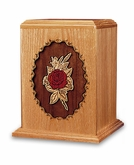 Rose Dimensional Wood Cremation Urn - Engravable