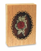 Rose Dimensional Wood  Keepsake Cremation Urn - Engravable