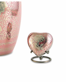 Rose Floral Heart Brass Keepsake Cremation Urn