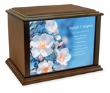 Rose Hips Flowers Eternal Reflections Wood Cremation Urn - 4 Sizes